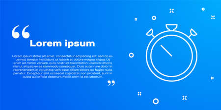 White line Stopwatch icon isolated on blue background. Time timer sign. Chronometer sign. Vector