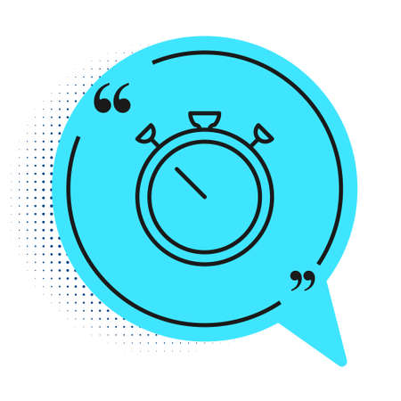 Black line Stopwatch icon isolated on white background. Time timer sign. Chronometer sign. Blue speech bubble symbol. Vector