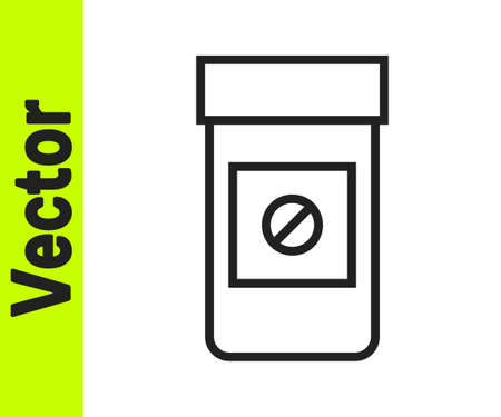 Black line Sports doping, anabolic drugs icon isolated on white background. Anabolic steroids tablet. Pills in jar. Vector