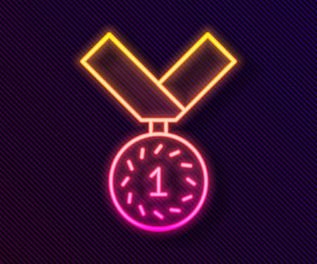 Glowing neon line Medal icon isolated on black background. Winner symbol. Vector