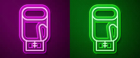 Glowing neon line Boxing glove icon isolated on purple and green background. Vector