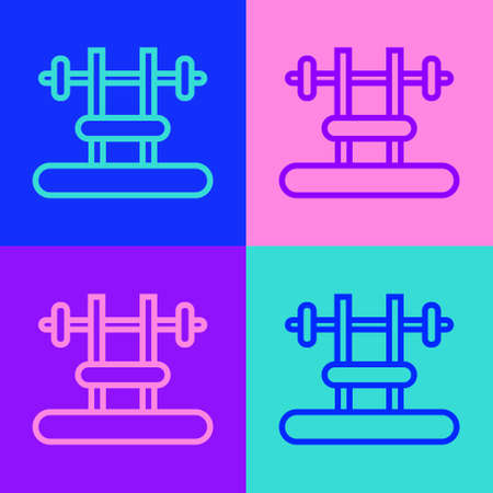 Pop art line Bench with barbel icon isolated on color background. Gym equipment. Bodybuilding, powerlifting, fitness concept. Vector Vectores