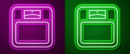 Glowing neon line Bathroom scales icon isolated on purple and green background. Weight measure Equipment. Weight Scale fitness sport concept. Vector 向量圖像