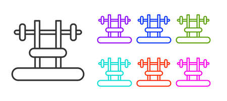 Black line Bench with barbel icon isolated on white background. Gym equipment. Bodybuilding, powerlifting, fitness concept. Set icons colorful. Vector