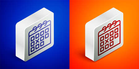 Isometric line Calendar fitness icon isolated on blue and orange background. Training schedule. Silver square button. Vector