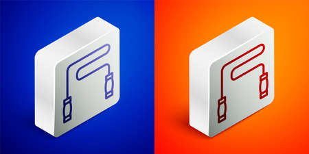 Isometric line Jump rope icon isolated on blue and orange background. Skipping rope. Sport equipment. Silver square button. Vector