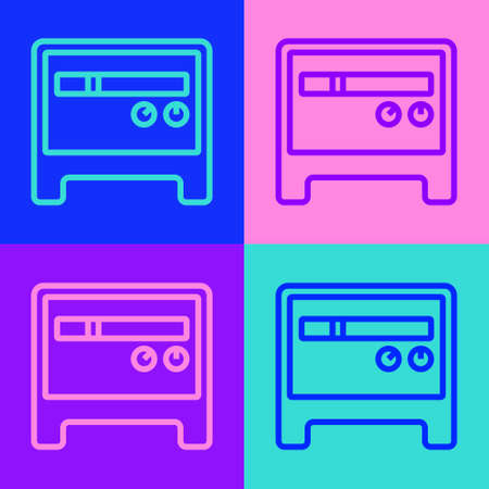 Pop art line Guitar amplifier icon isolated on color background. Musical instrument. Vector
