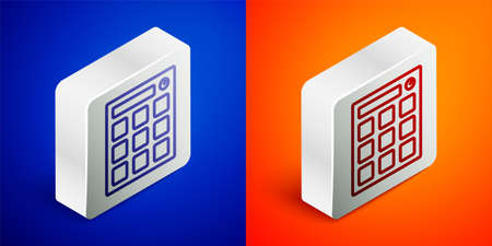 Isometric line Drum machine music producer equipment icon isolated on blue and orange background. Silver square button. Vector