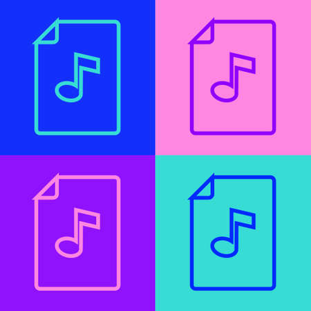 Pop art line Music book with note icon isolated on color background. Music sheet with note stave. Notebook for musical notes. Vector