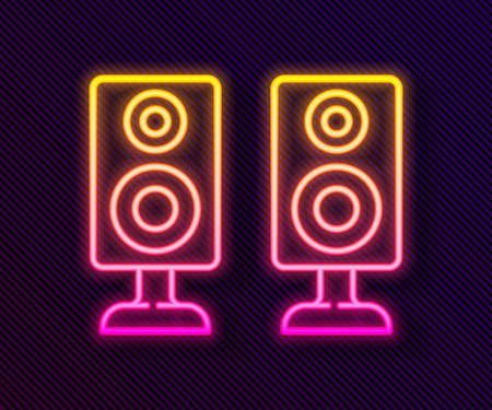 Glowing neon line Stereo speaker icon isolated on black background. Sound system speakers. Music icon. Musical column speaker bass equipment. Vector Vectores