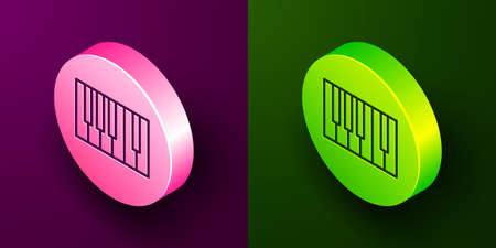 Isometric line Grand piano icon isolated on purple and green background. Musical instrument. Circle button. Vector