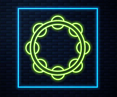 Glowing neon line Musical instrument percussion tambourine, with metal plates icon isolated on brick wall background. Vector Illusztráció