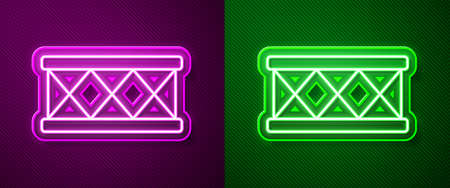 Glowing neon line Drum icon isolated on purple and green background. Music sign. Musical instrument symbol. Vector Illusztráció