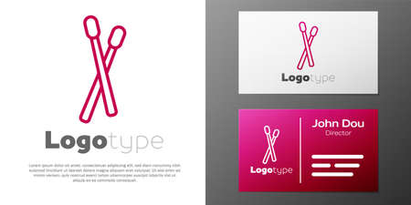 Logotype line Drum sticks icon isolated on white background. Musical instrument. Logo design template element. Vector Illusztráció