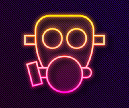 Glowing neon line Gas mask icon isolated on black background. Respirator sign. Vector 向量圖像