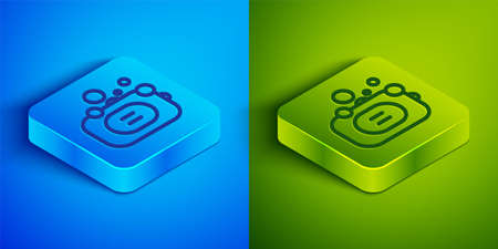 Isometric line Bar of soap icon isolated on blue and green background. Soap bar with bubbles. Square button. Vector