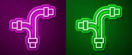 Glowing neon line Industry metallic pipe icon isolated on purple and green background. Plumbing pipeline parts of different shapes. Vector