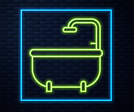 Glowing neon line Bathtub icon isolated on brick wall background. Vector 向量圖像
