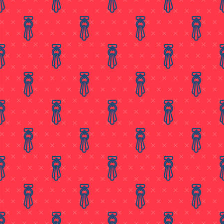 Blue line Towel on a hanger icon isolated seamless pattern on red background. Bathroom towel icon. Vector