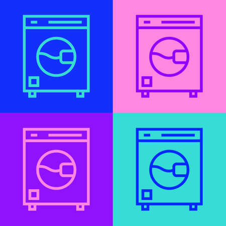 Pop art line Washer icon isolated on color background. Washing machine icon. Clothes washer - laundry machine. Home appliance symbol. Vector