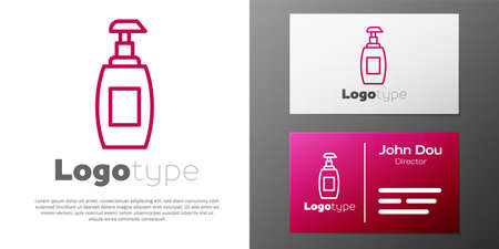 Logotype line Bottle of liquid antibacterial soap with dispenser icon isolated on white background. Antiseptic. Disinfection, hygiene, skin care. Logo design template element. Vector