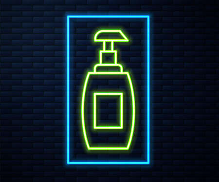 Glowing neon line Bottle of liquid antibacterial soap with dispenser icon isolated on brick wall background. Antiseptic. Disinfection, hygiene, skin care. Vector 向量圖像