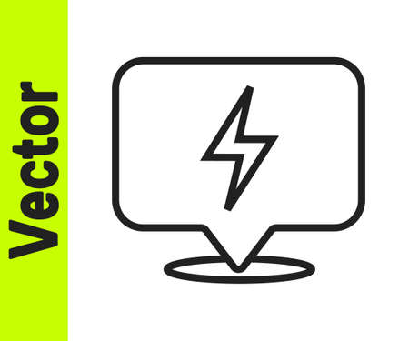 Black line Lightning bolt icon isolated on white background. Flash icon. Charge flash icon. Thunder bolt. Lighting strike. Vector Ilustrace