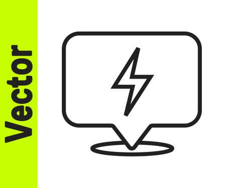 Black line Lightning bolt icon isolated on white background. Flash icon. Charge flash icon. Thunder bolt. Lighting strike. Vector 向量圖像