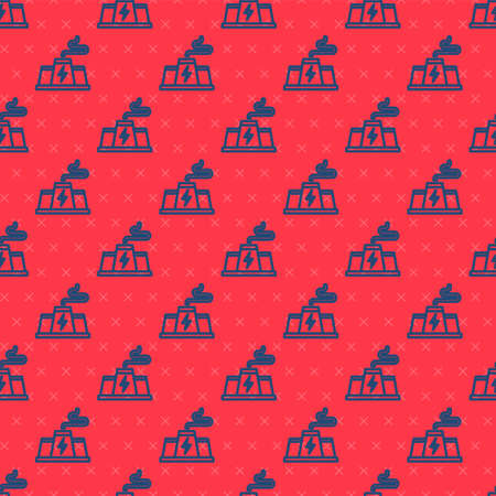 Blue line Power station plant and factory icon isolated seamless pattern on red background. Energy industrial concept. Vector 矢量图像
