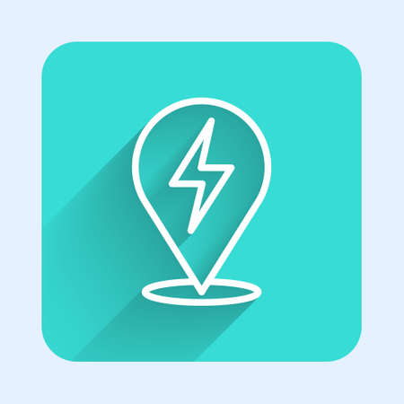White line Lightning bolt icon isolated with long shadow. Flash icon. Charge flash icon. Thunder bolt. Lighting strike. Green square button. Vector