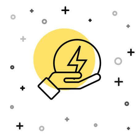 Black line Lightning bolt icon isolated on white background. Flash sign. Charge flash icon. Thunder bolt. Lighting strike. Random dynamic shapes. Vector 向量圖像