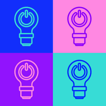 Pop art line Light bulb with lightning symbol icon isolated on color background. Light lamp sign. Idea symbol. Vector