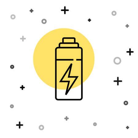 Black line Battery icon isolated on white background. Lightning bolt symbol. Random dynamic shapes. Vector