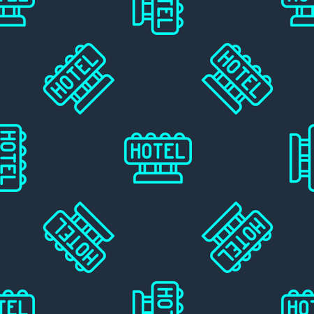 Green line Signboard outdoor advertising with text Hotel icon isolated seamless pattern on blue background. Vector