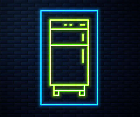 Glowing neon line Refrigerator icon isolated on brick wall background. Fridge freezer refrigerator. Household tech and appliances. Vector. 矢量图像
