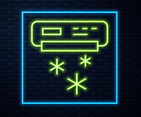 Glowing neon line Air conditioner icon isolated on brick wall background. Split system air conditioning. Cool and cold climate control system. Vector