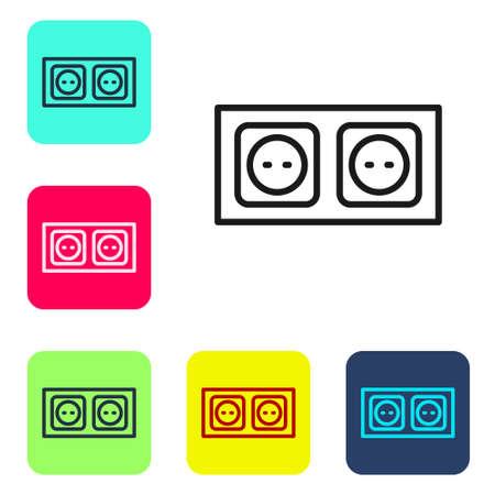 Black line Electrical outlet icon isolated on white background. Power socket. Rosette symbol. Set icons in color square buttons. Vector