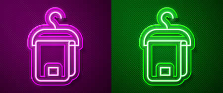 Glowing neon line Towel on hanger icon isolated on purple and green background. Bathroom towel icon. Vector 向量圖像