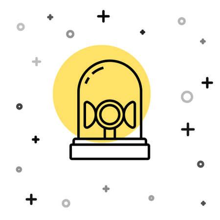 Black line Flasher siren icon isolated on white background. Emergency flashing siren. Random dynamic shapes. Vector Stock Illustratie
