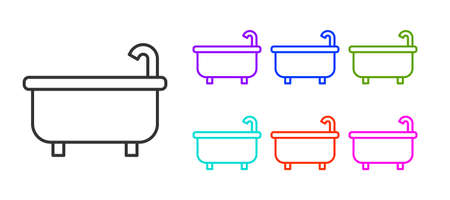 Black line Bathtub icon isolated on white background. Set icons colorful. Vector
