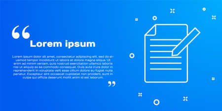 White line Document and pen icon isolated on blue background. File icon. Checklist icon. Business concept. Vector
