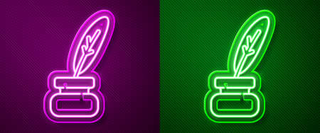 Glowing neon line Feather and inkwell icon isolated on purple and green background. Vector
