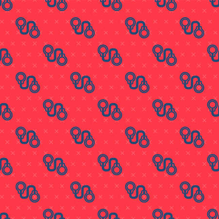 Blue line Handcuffs icon isolated seamless pattern on red background. Vector