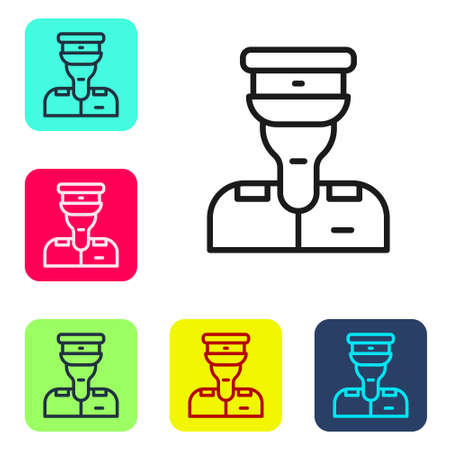 Black line Train conductor icon isolated on white background. Set icons in color square buttons. Vector