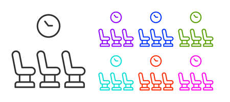 Black line Waiting room icon isolated on white background. Set icons colorful. Vector