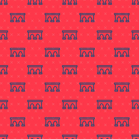 Blue line Bridge for train icon isolated seamless pattern on red background. Vector