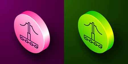 Isometric line Railway icon isolated on purple and green background. Railroad overhead lines. Contact wire. Circle button. Vector