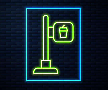 Glowing neon line Cafe and restaurant location icon isolated on brick wall background. Fork and spoon eatery sign inside pinpoint. Vector.