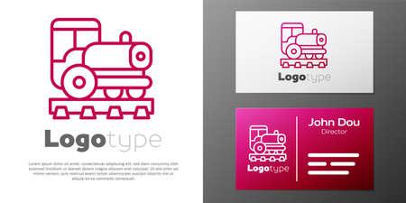 Logotype line Vintage locomotive icon isolated on white background. Steam locomotive. Logo design template element. Vector