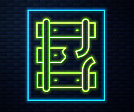Glowing neon line Broken or cracked rails on a railway icon isolated on brick wall background. Vector 向量圖像